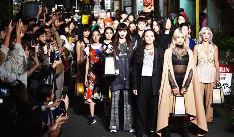 Christelle Kocher's fashion show on the street in Harajuku