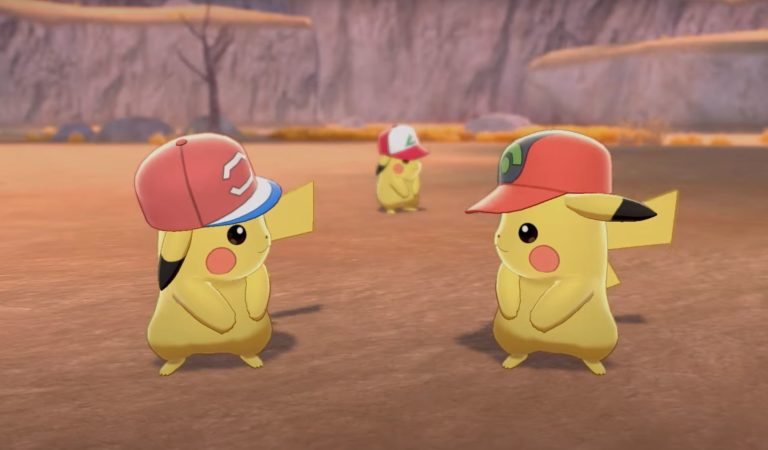 Mystery Gift Collectibles of Ash's Pikachu Wearing Ash's Caps Available in Pokémon Sword and Pokémon Shield